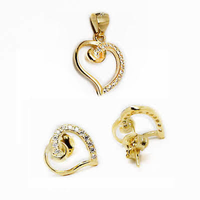 Sterling Silver Heart Shape Pendant and Earrings Set - atlanta-jewelers-supply