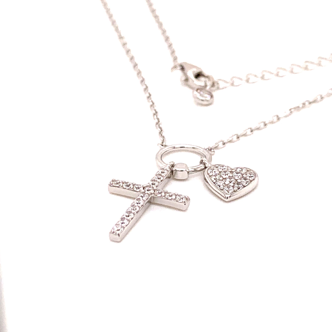 Sterling Silver CZ Cross Heart Necklace
