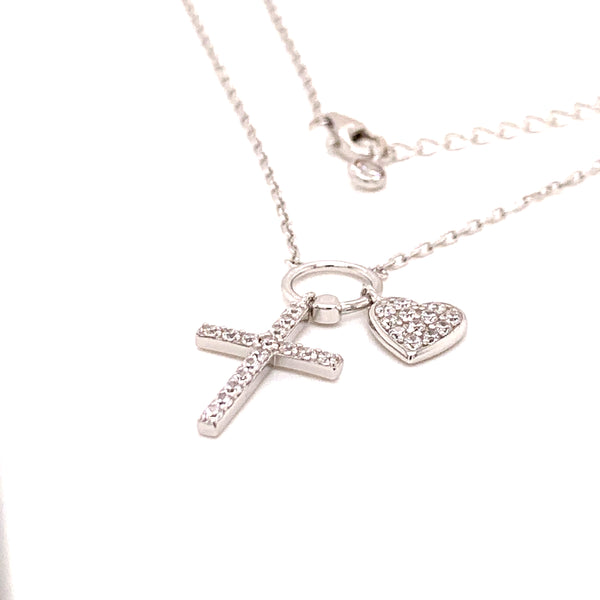 Sterling Silver CZ Cross Heart Necklace - Atlanta Jewelers Supply