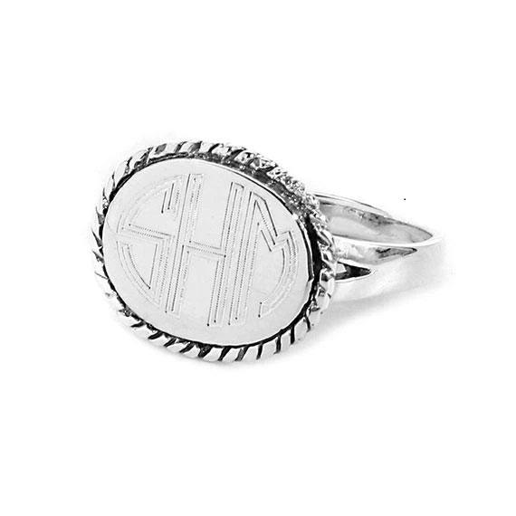 Sterling Silver Horizontal Oval With Rope Engravable Ring  with Split Band - Atlanta Jewelers Supply