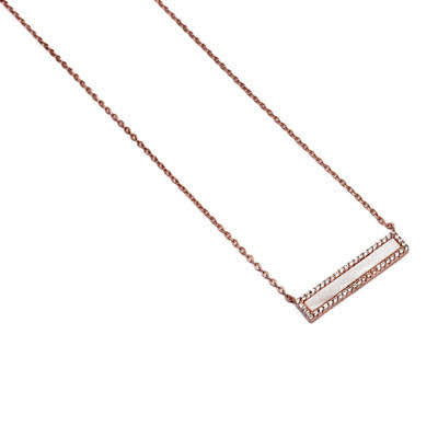 Sterling Silver Shall Bar Necklaces with Cz Stone Available in 3 Colors - atlanta-jewelers-supply