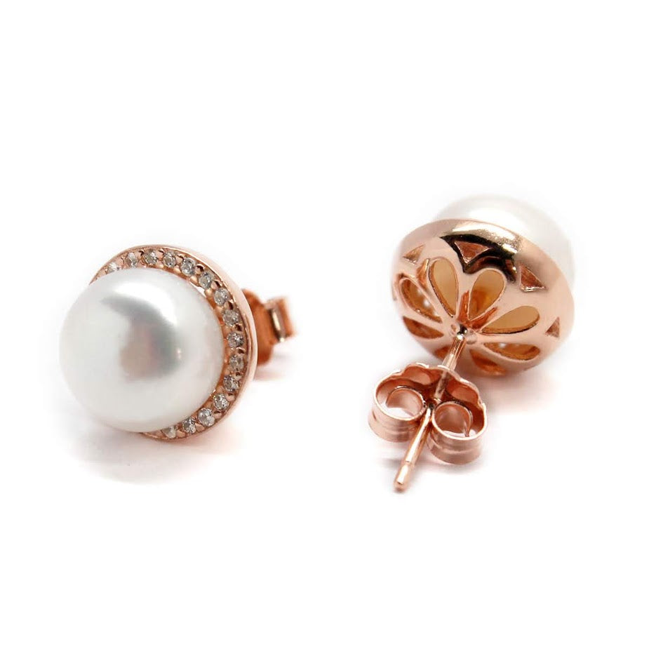 Sterling Silver Stud Earrings Around CZ with Pearl - Atlanta Jewelers Supply