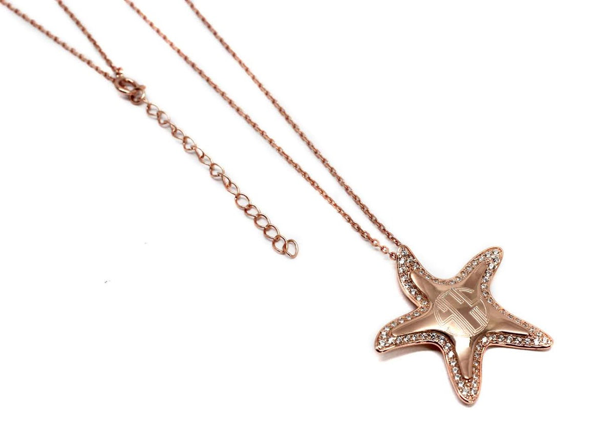 Elegant Engraved Sterling Silver CZ Starfish Necklace - Atlanta Jewelers Supply