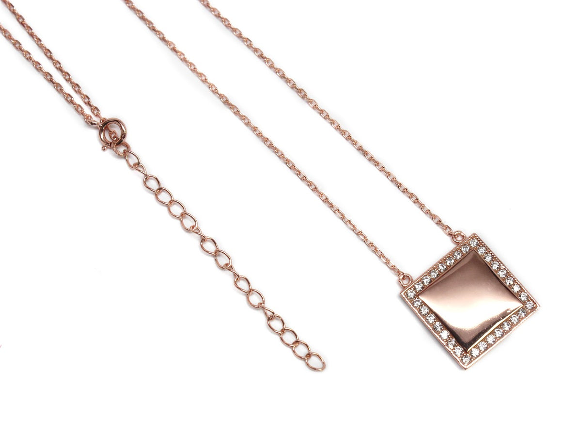 Elegant Sterling Silver Necklace & Engraveable CZ Square Plate atlanta-jewelers-supply.myshopify.com