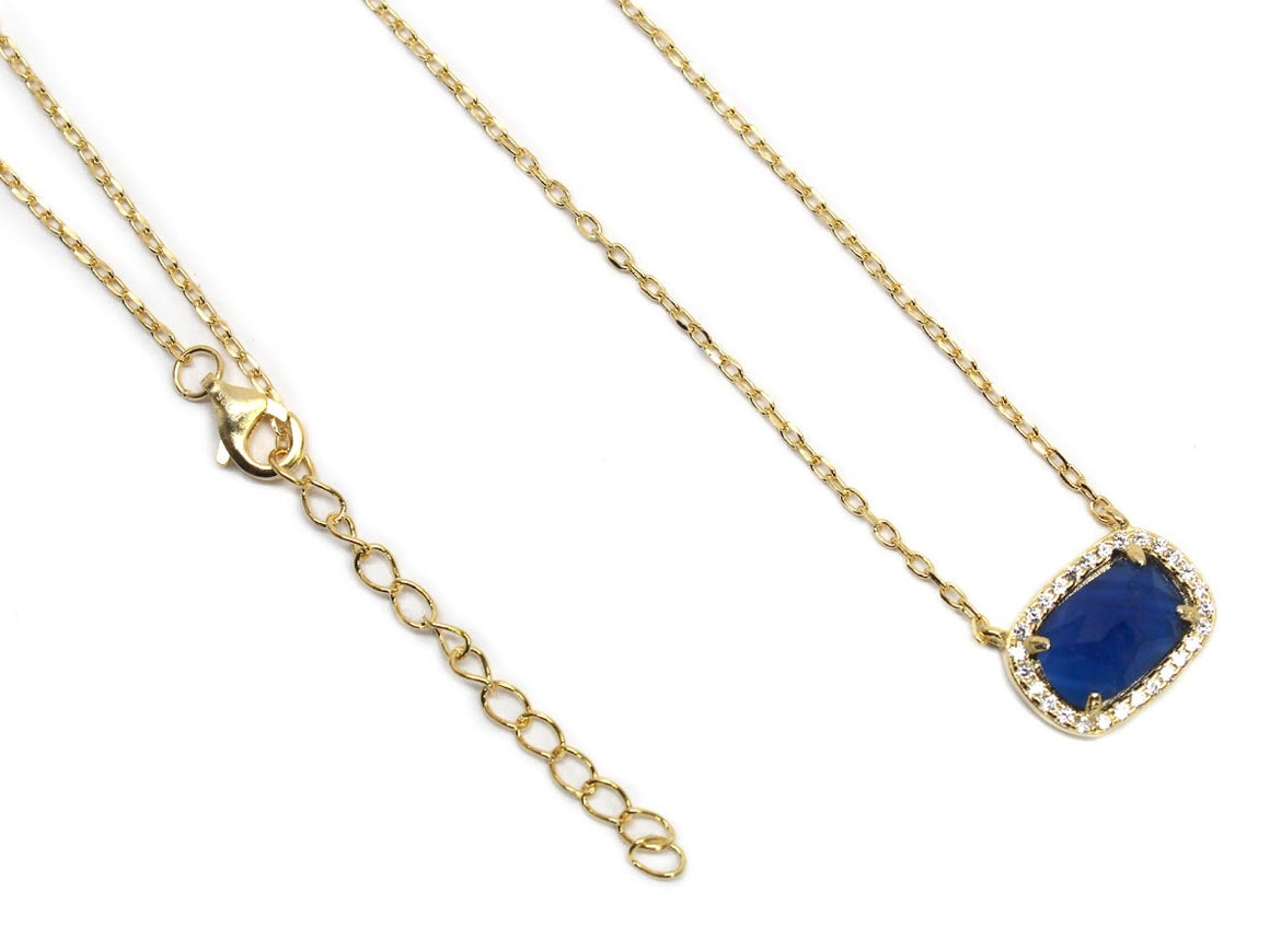 Sterling Silver Necklace Features CZ  Sapphire Gem Bordered By CZ Stones. - Atlanta Jewelers Supply