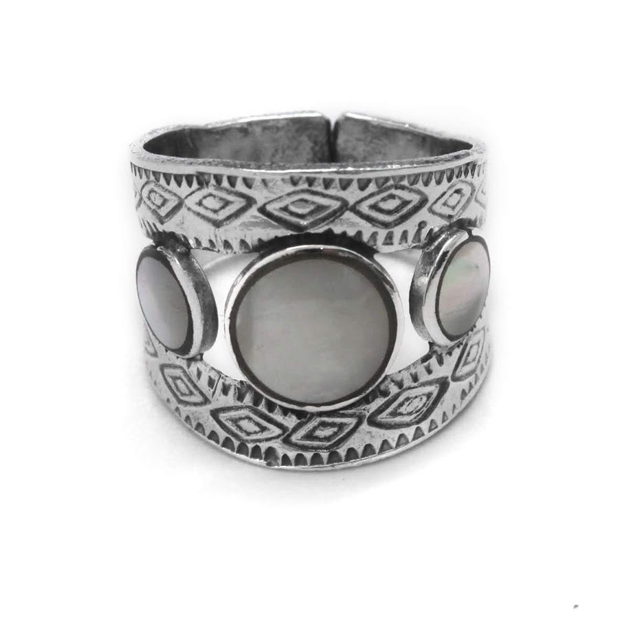 Sterling Silver 3 Stone Natural Stone Decorative Ring - Atlanta Jewelers Supply