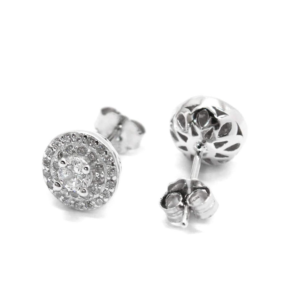Sterling Silver Round CZ Stud Stone Errings - Atlanta Jewelers Supply