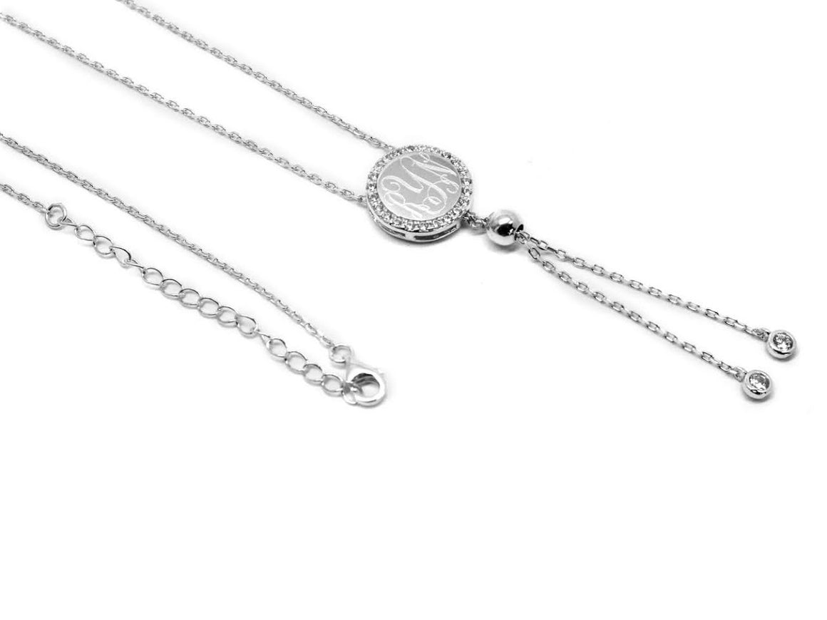 Sterling Silver Engravable Tassel Necklace Around with CZ - atlanta-jewelers-supply