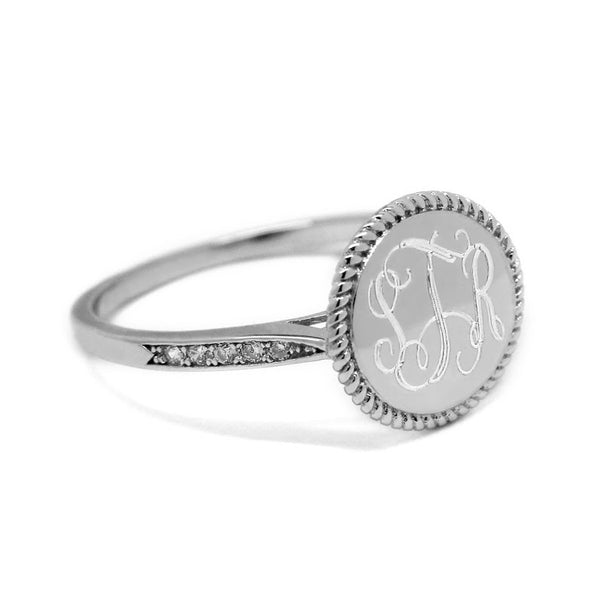 Sterling Silver Plain Face Engravable Circle Ring With Roped Trim(Silver) - Atlanta Jewelers Supply