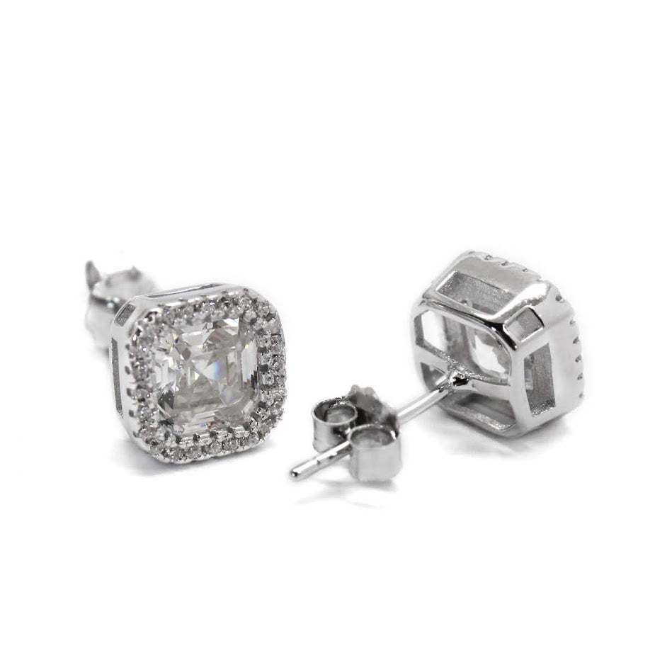 Sterling Silver Square Around the CZ Stone Earrings - Atlanta Jewelers Supply