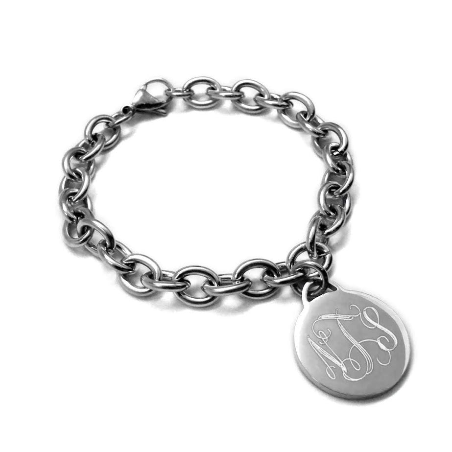 Stainless Steel Round disc Charm Bracelet atlanta-jewelers-supply.myshopify.com
