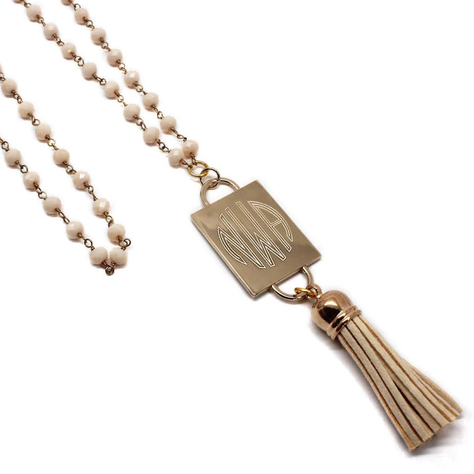 Fashion Engravable Tassel Bone Bead Chain Necklace atlanta-jewelers-supply.myshopify.com