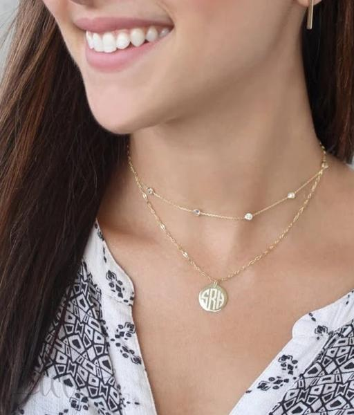 Sterling Silver Layered Diamond By the Yard Disc Necklace - Atlanta Jewelers Supply