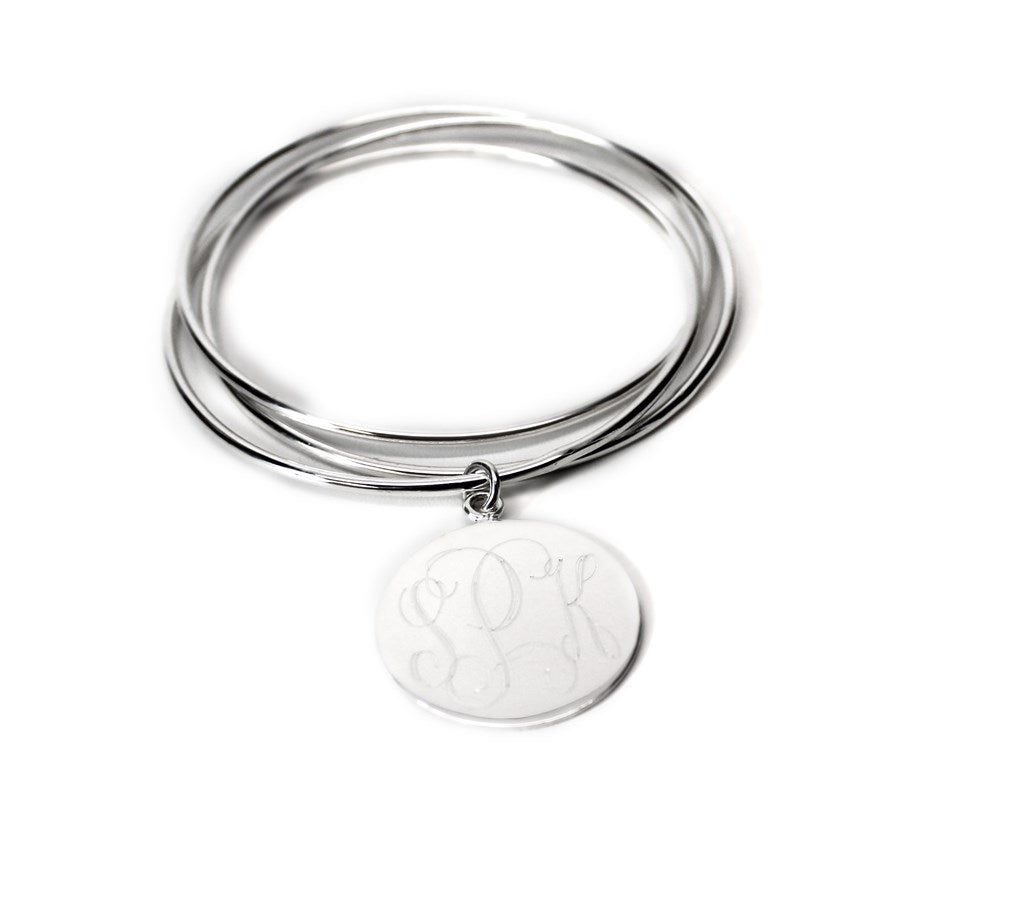 German Silver Triple Bangle with Engraved Dangle Disc atlanta-jewelers-supply.myshopify.com