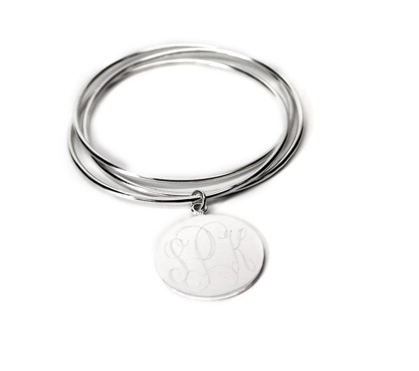 German Silver Triple Bangle with Engraved Dangle Disc - Atlanta Jewelers Supply