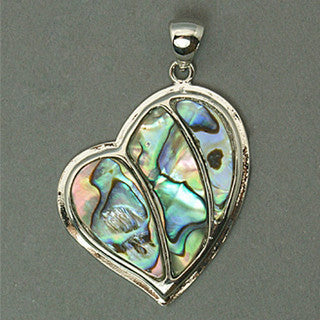 Abalone/Paua Shell Heart Pendant 35x43mm