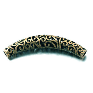 Antique Bronze Curved Tube 66x12mm