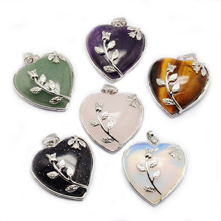 Platinum Plated Brass Gemstone Heart Pendant 33x45mm