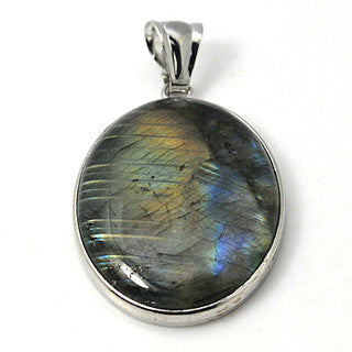 Natural Labradorite Oval Pendant 47x32mm