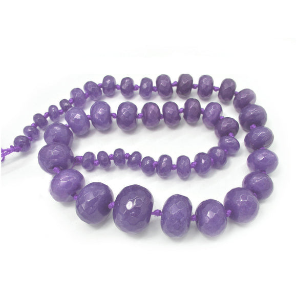 Light Purple Jade Dyed Faceted Graduated Rondelle 8-20mm