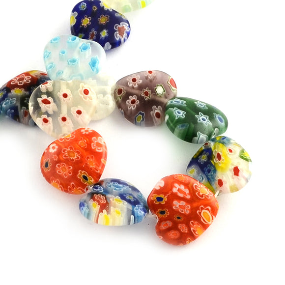 Millefiori Glass Heart Beads