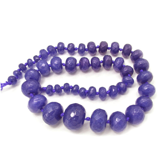Purple Jade Dyed Faceted Graduated Rondelle 8-20mm