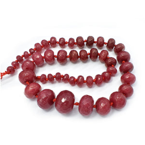 Ruby Jade Dyed Faceted Graduated Rondelle 8-20mm