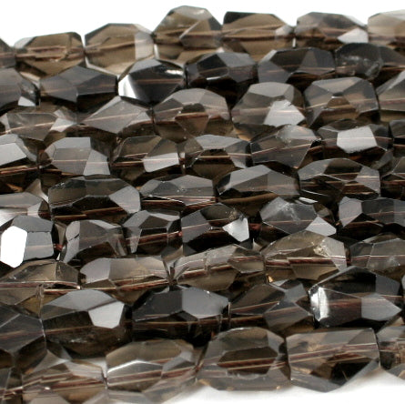 Smoky Quartz Faceted Nugget 10x14mm