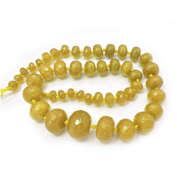 Yellow Jade Dyed Faceted Graduated Rondelle 8-20mm