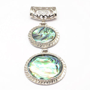 Abalone/Paua Shell Double Oval Pendant 66mm