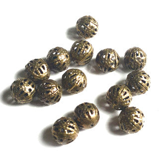 Antique Bronze Carved Ball 8mm (50 pcs)