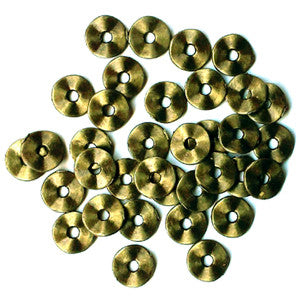 Antique Bronze Wavy Disc 7mm (100 pcs)