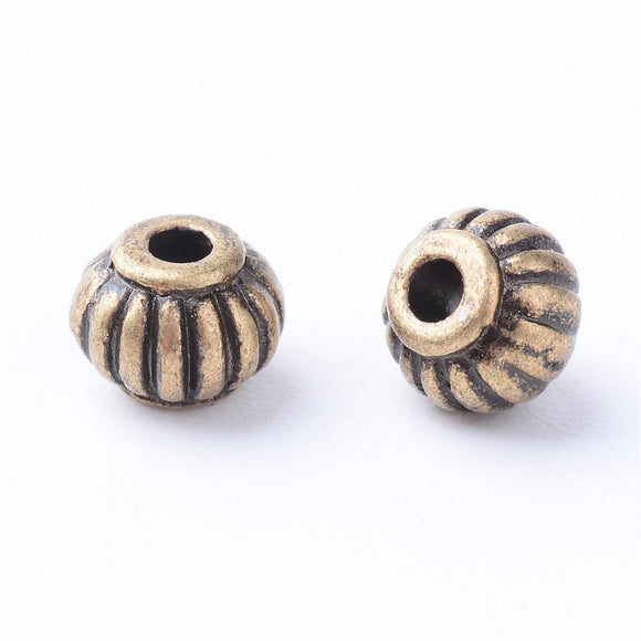 Antique Bronze Corrugated Round Bead 5x4mm (100 pcs)