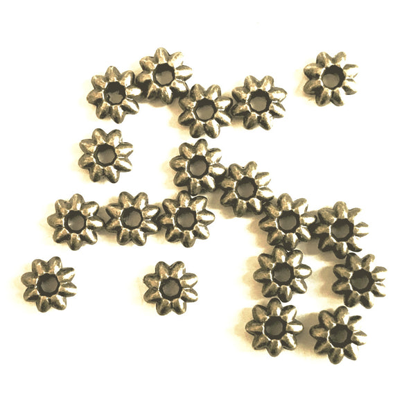 Antique Bronze Flower Spacer 5x2mm (100 pcs)