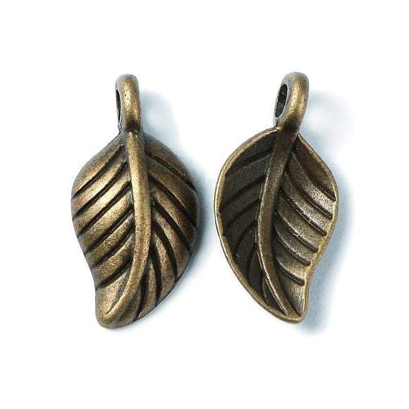 Antique Bronze Leaf Charm 15x7mm (30 pcs)
