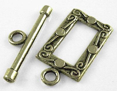 Antique Bronze Rectangle Toggle Clasps 12x20mm (10 sets)
