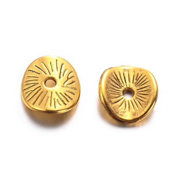 Antique Gold Curve Disc 9mm (50 pcs)