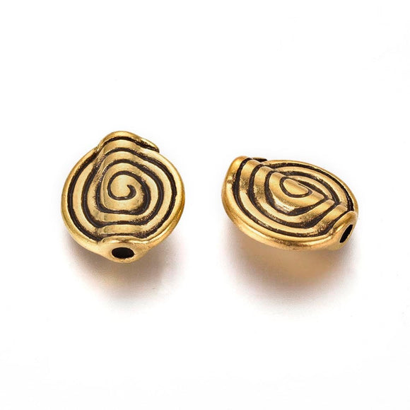Antique Gold Flat Round Swirl Spacer 12x4mm (30 pcs)
