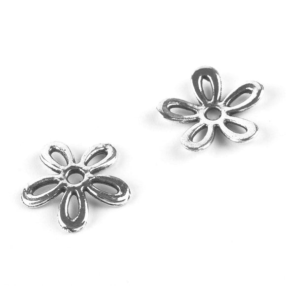 Antique Silver 5-Petal Flower Bead Cap 11x2mm (100 pcs)