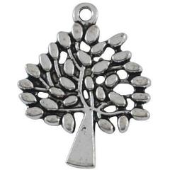 Antique Silver Tree Charm 24x29mm (10 pcs)