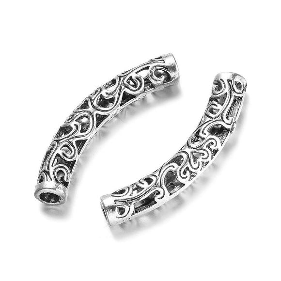 Pewter Silver Curved Tube 6x37mm (5 pcs)