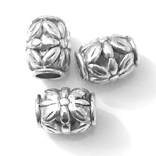 Antique Silver Flower Barrel Spacer Beads 9x11mm (20 pcs)