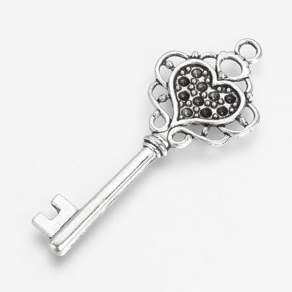 Antique Silver Key Charm/Pendant 22x56mm