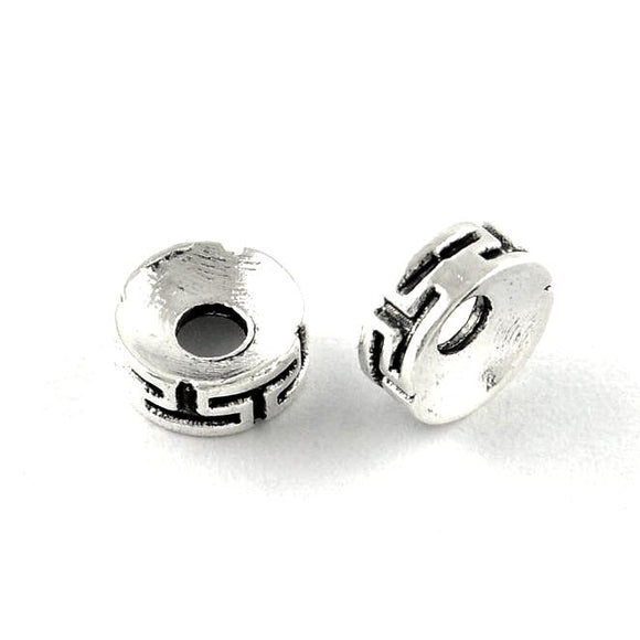 Antique Silver Maze Rondelle Spacer 7.5x3mm (50 pcs)
