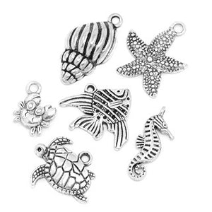 Antique Silver Ocean Animal Charms 12-25mm x 9-21mm (6 pcs)