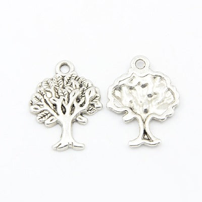 Antique Silver Tree Charm 17x22mm (10 pcs)