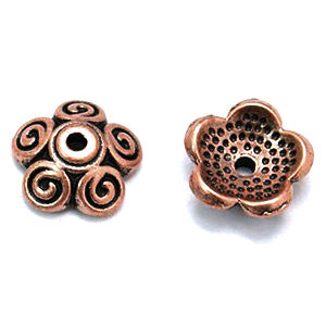 Antique Copper Pewter Bead Cap 10x4mm (100 pcs)
