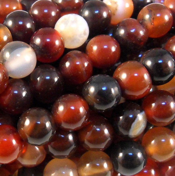 Black & Red Agate Round 8mm