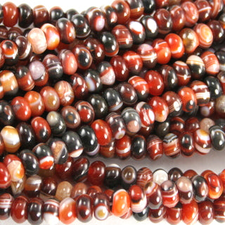 Red & Black Stripe Agate Rondelle 8mm
