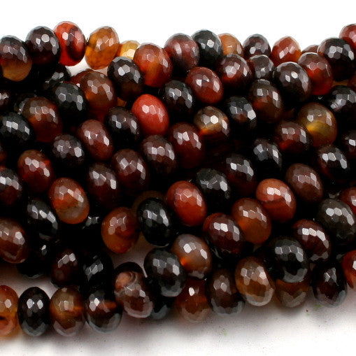 Black & Red Agate Faceted Rondelle 12mm